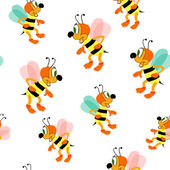 Bees seamless pattern — Stock Vector