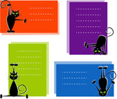 Set of labels with cute black cats — Stock Vector
