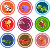 Set of nine animal stickers — Stock Vector