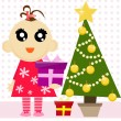 Cute girl with christmas tree — Stock Vector #80531978