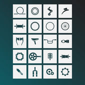 Bicycle parts icons — Stock Vector