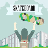 Longboard skateboard and — Stock Vector