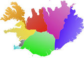 Iceland, color map of the regions — Vector de stock