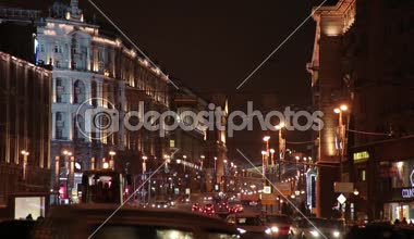 Moscow. Night. The movement of cars on Tverskaya Boulevard — Stock Video