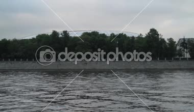 View from the river on a roof of the Olympic Luzhniki complex in the summer — Stock Video