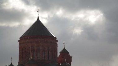 The dome of the Armenian Church complex against the winter sky — Stock video