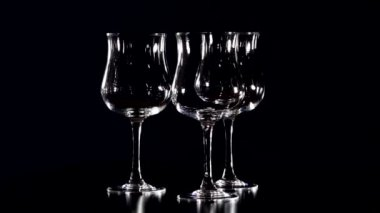 Glasses on black background. The camera motion in a circle 1 — Stock Video