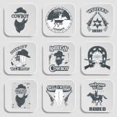 Set of wild west cowboy designed elements — Stock Vector