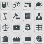 Set of law and justice flat icons — Stock Vector