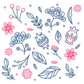 Lineart Floral seamless pattern. — Stock Vector
