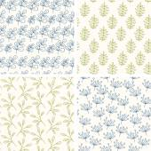 Lineart floral seamless patterns. — Stock Vector