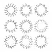 Round lineart floral frame set. — Stock Vector