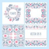 Set of lineart flower backgrounds — Stock Vector