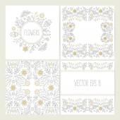Set of lineart flower backgrounds. — Stock Vector