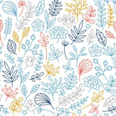 Simple lineart floral seamless pattern. — Stock Vector