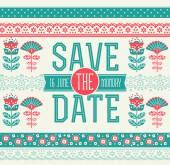 Cute Fabric Wedding Invitation — Stock Vector