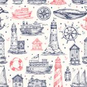 Nautical elements seamless pattern — Stock Vector