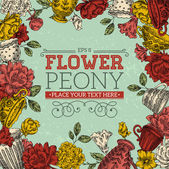 Vintage Peony Greeting Card — Stock Vector