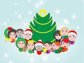 Christmas avatar  composition — Stock Vector