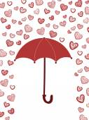 Romantic card with umbrella and hearts — Stock Vector