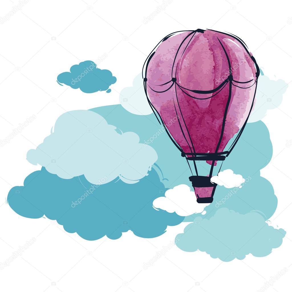 watercolor hot air balloon in sky stock vector  u00a9 o ta hot pink flower clip art hot pink clip art congrats