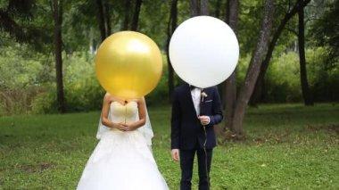 Nevěsta a ženich na svatbě — Stock video