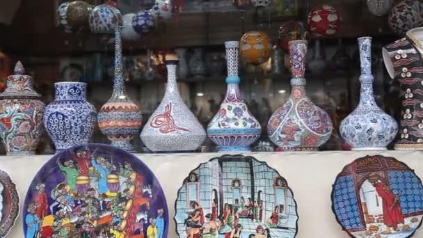 Mercancías caseras souvenir para turistas en Estambul — Vídeo de stock