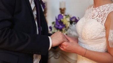 Young newlyweds couple holding hands — Stock Video