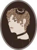 Vintage portrait of pretty girl — Stockvektor