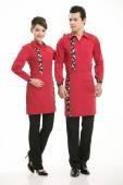 Nosić odzież okupacji chińskiej kelnerów w tle — Zdjęcie stockowe