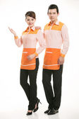 Wear clothing occupation Chinese waiters in white background — Stock Photo