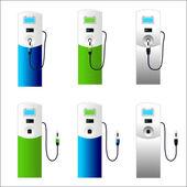 Electric car charging column set 3 — Stock Vector