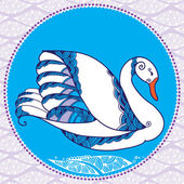 White decorative swan оn the ornamental background — Stock Vector