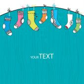 Colorful collection of funny socks on a turquoise background — Vettoriale Stock