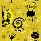 Seamless pattern of black funny monsters — Stock Vector