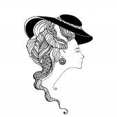 Beautiful lady head silhouette. Baroque style — Stock Vector