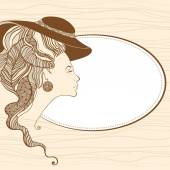 Beautiful young lady head silhouette. Baroque style — Stockvektor