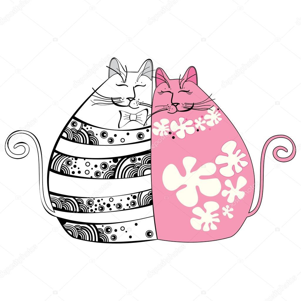 Ilustración con los gatos enamorados \u2014 Vector de stock 66822861