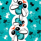 Seamless pattern with funny flies — Stock Vector
