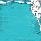 Beautiful abstract girl on the turquoise background — Vecteur