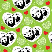 Seamless pattern with sleeping pandas and hearts — Stock Vector