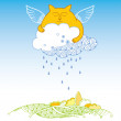 Funny cat with cloud. Series of comic cats — Stock Vector #70084713