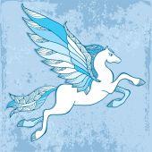 Mitologiczny Pegasus na niebieskim tle. Seria mitologiczne — Wektor stockowy
