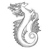 Mythological Hippocampus. Legendary sea horse. The series of mythological creatures — Stock Vector