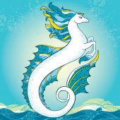 Mythological Hippocampus. The series of mythological creatures — Stock Vector