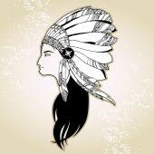 Portrait of Native American Indian — Stock Vector