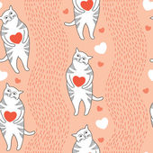 Seamless pattern with Funny cats and orange hearts — Vettoriale Stock