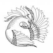 Mythological Firebird. Legendary mythical bird with golden feathers. The series of mythological creatures — Stock Vector