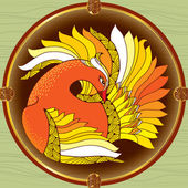 Mythological Firebird in the round frame. Legendary bird with golden feathers. The series of mythological creatures — Stock Vector