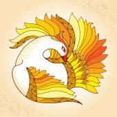 Mythological Firebird. Legendary bird with golden feathers. The series of mythological creatures — Stock Vector